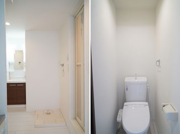洗濯機置き場とトイレ