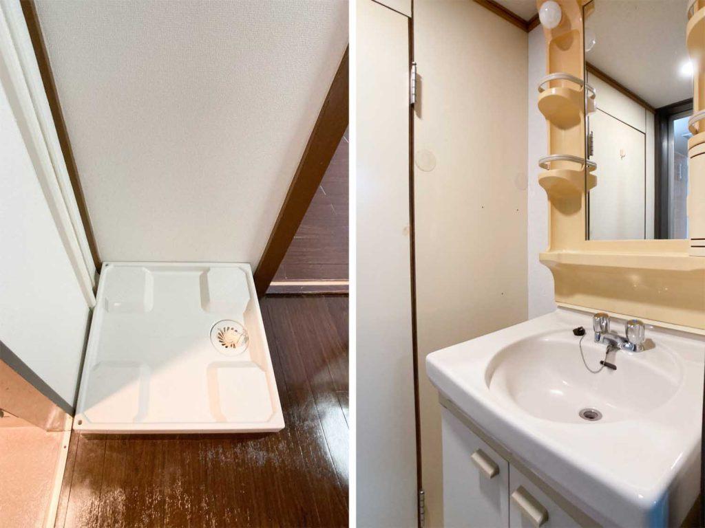 室内洗濯機置場と独立洗面台。