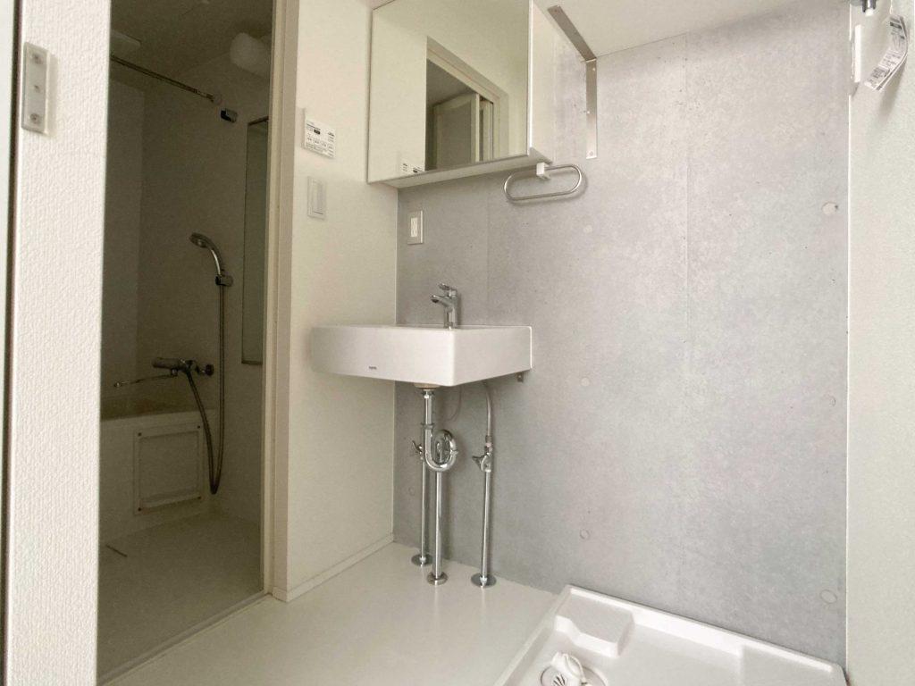 洗面スペース。鏡が収納の扉になっています。
