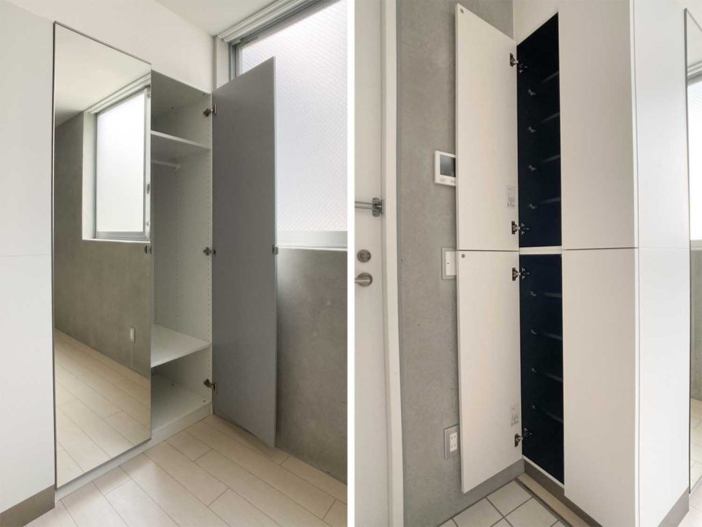 扉が姿見になっているクローゼット。玄関にはシューズケースがあります。