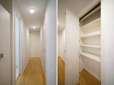 玄関からお部屋に入る廊下にも収納があります