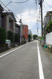 周りは住宅街、まっすぐな潔い道です