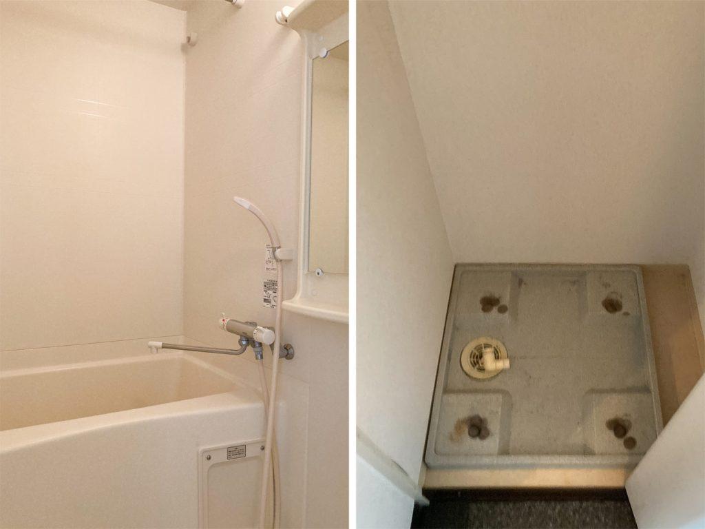 バスルームと玄関にある室内洗濯機置き場。
