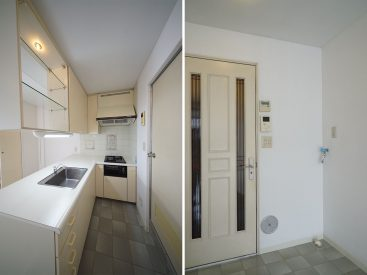シンク上の棚がオープンなのいいですね/入り口の隣が洗濯置き場