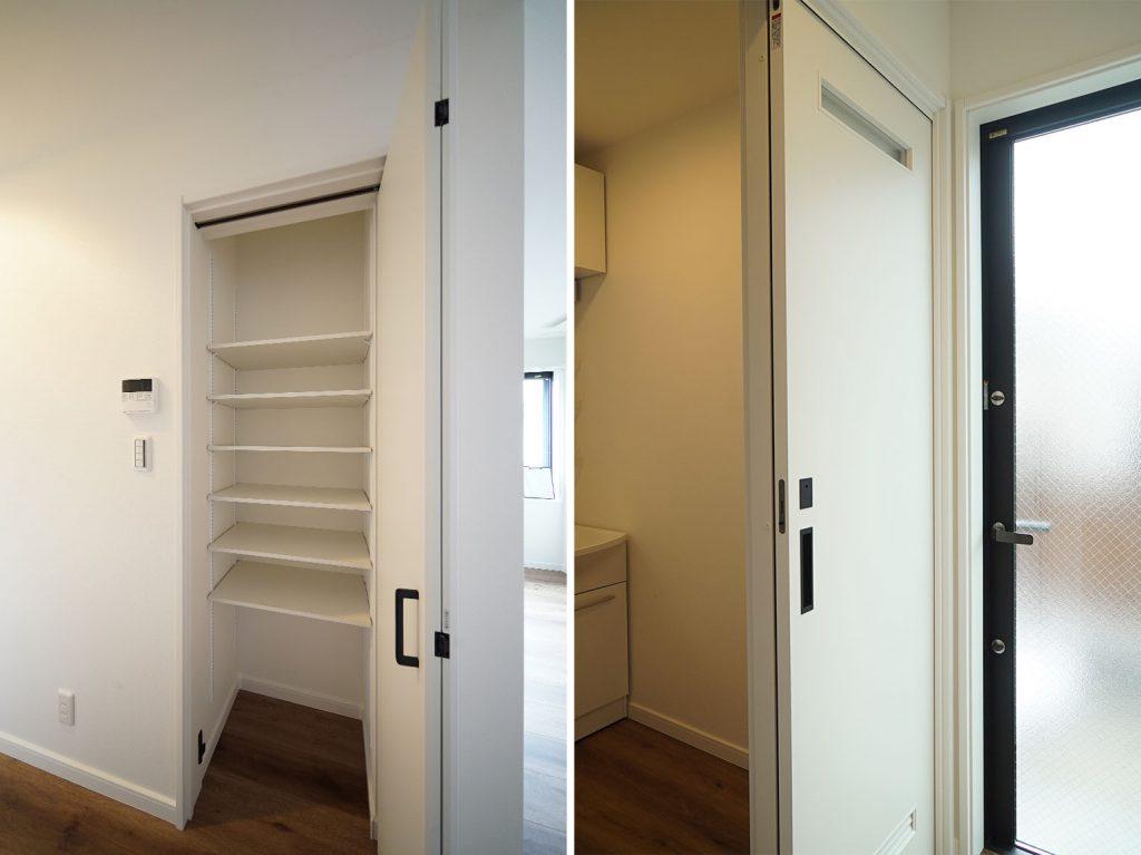 キッチン後ろの収納棚/洗面所前の扉を出ると専用庭です