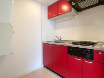 ゆったりした真っ赤なキッチン。