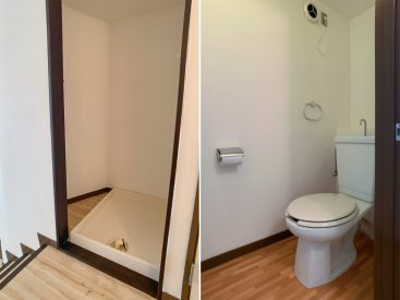 洗濯機置き場、トイレは並んで廊下に。」