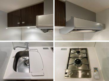 キッチンの設備。1人暮らしにはちょうどいい。