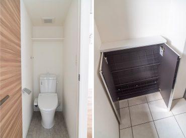 階段登った所のトイレ/シューズボックスです
