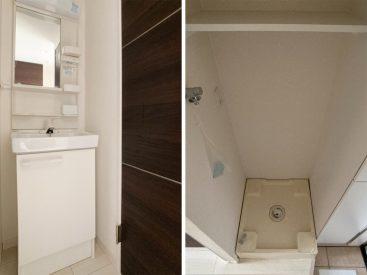 独立洗面台と玄関にある洗濯機置き場。